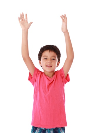 child with open hands up as a sign of happiness photo