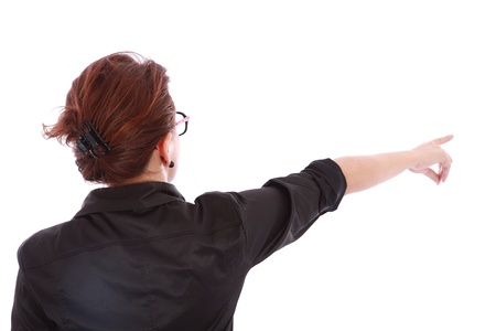 back woman pointing her finger over white background  photo