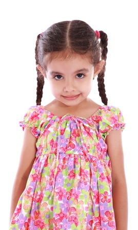 child girl with expression of grief over white background photo