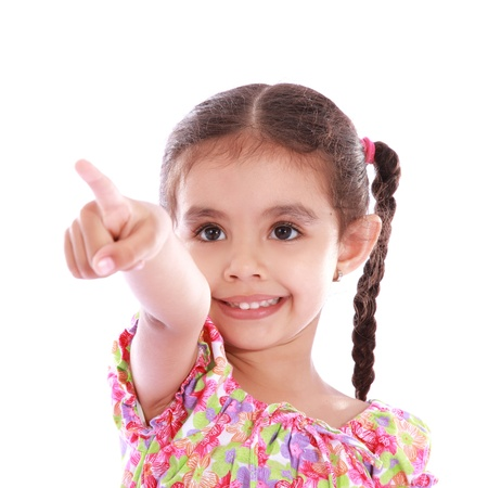 child girl pointing finger towards the camera over white background photo
