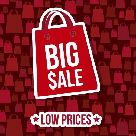 big sale over red background. vector illustration Vector