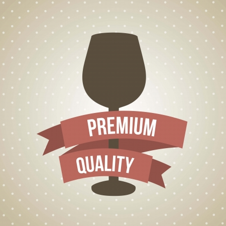 burgundy ribbon: bicchiere di vino su sfondo marrone. illustrazione vettoriale Vettoriali