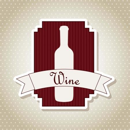 wine label over beige background. vector illustration Vector