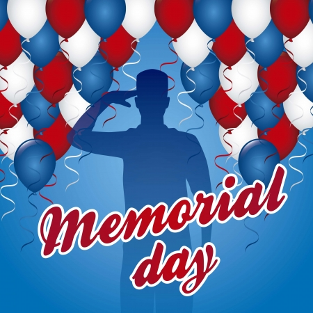 memorial day: memorial day card over blue background. vector illustration Illustration