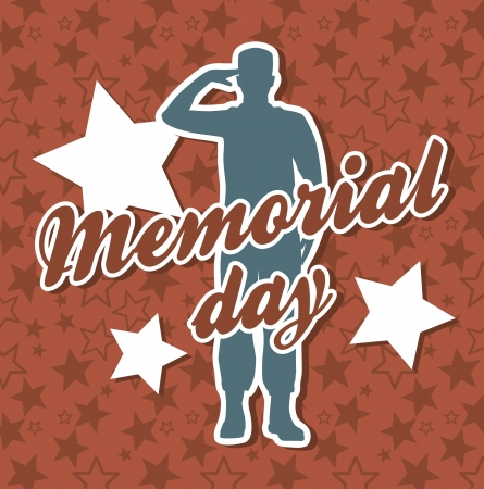 memorial day card over red background. vector illustration Stock Vector - 18710292