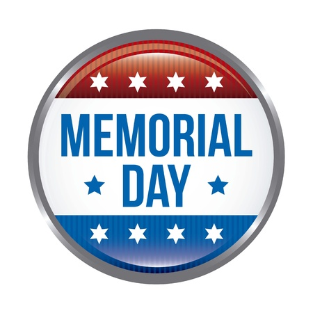 memorial day: memorial day button over white background. vector illustration Illustration