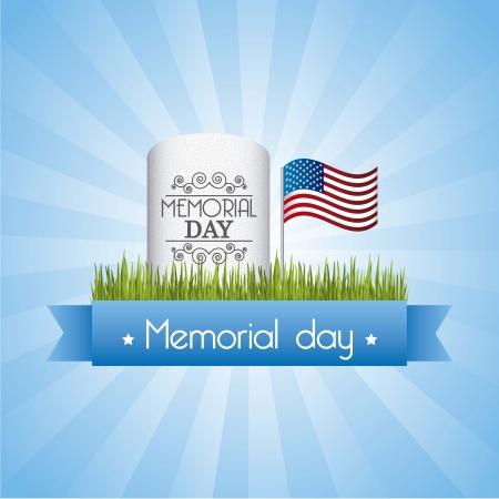 commemoration day: memorial day card over blue background. vector illustration Illustration