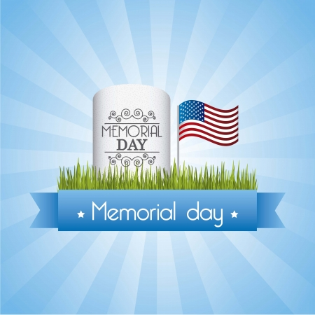 dia de muertos: memorial day card sobre fondo azul. ilustraci�n vectorial