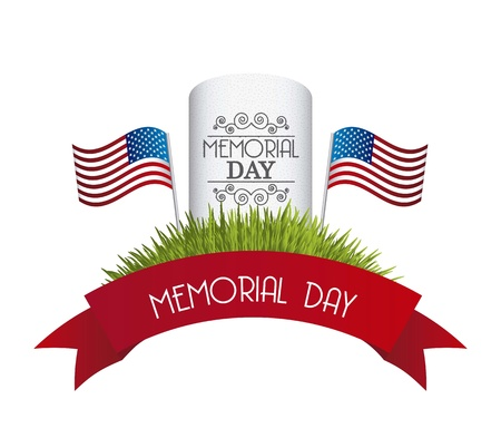 grave: memorial day card over white background. vector illustration