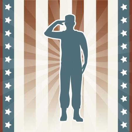 american hero: american soldier over beige background. vector illustration