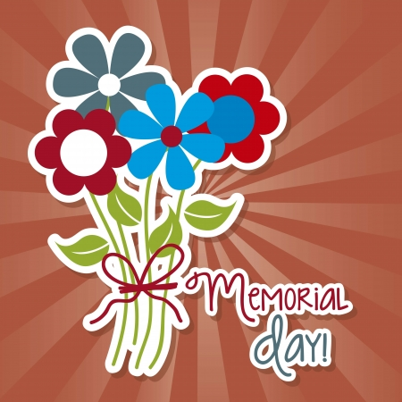 memorial day with flower over red background. vector Vector