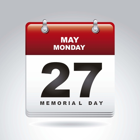 memorial day calendar over gray background. vector illustration Stock Vector - 18710244