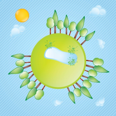 Earth, planet and nature icons colorful concets. Vector illustration Vector