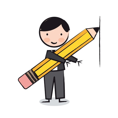 executive with pencil over white background, cartoon. vector