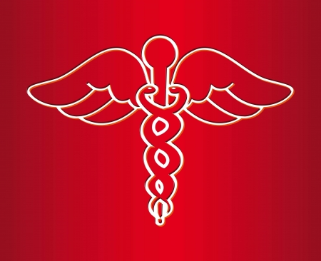 medical sign over red background. vector illustration Stock Vector - 18834134
