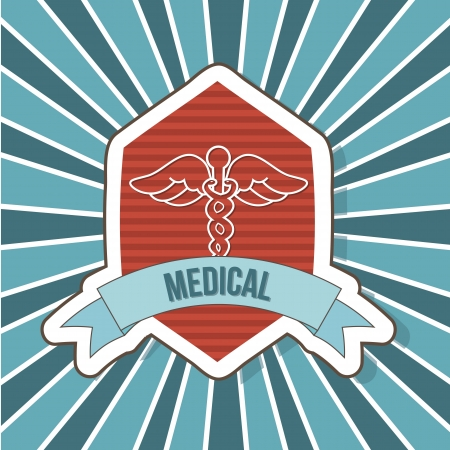 medical sign over label background. vector illustration Stock Vector - 18834159