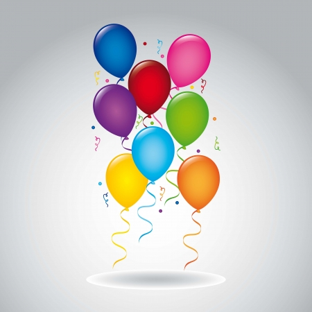colorful balloons over gray background.vector illustration Stock Vector - 18834251