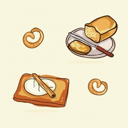 Bakery Icons on beige background ( colletion set). Vector illustration