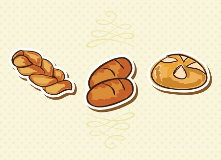 bread roll: Bakery Icons on beige background ( colletion set). Vector illustration