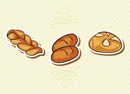 Icone da forno su fondo beige (set colletion). Vector illustration