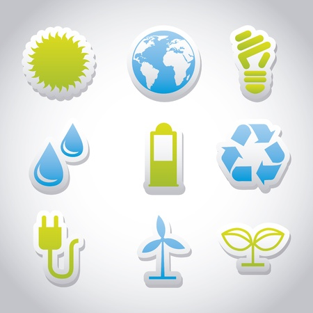 petroleum blue: ecology icons over gray background. vector illustration