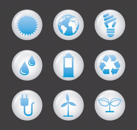 ecology icons over gray background. vector illustration Vector
