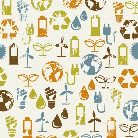 ahorrar agua: iconos de la ecolog�a sobre fondo beige. ilustraci�n vectorial Vectores