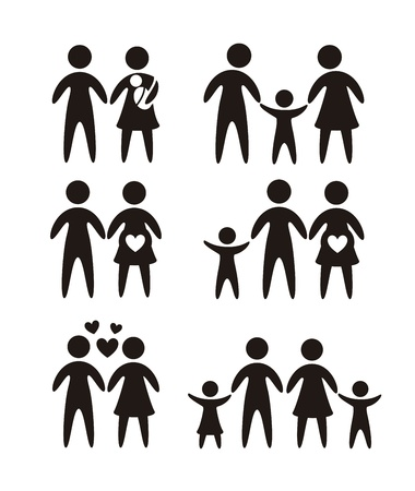black family: family icons over white background. vector illustration