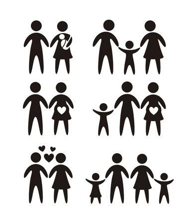 icônes de la famille sur fond blanc. illustration vectorielle Vecteurs