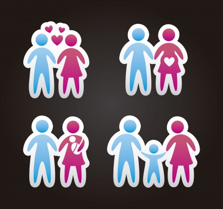 black family: family icons over black background. vector illustration