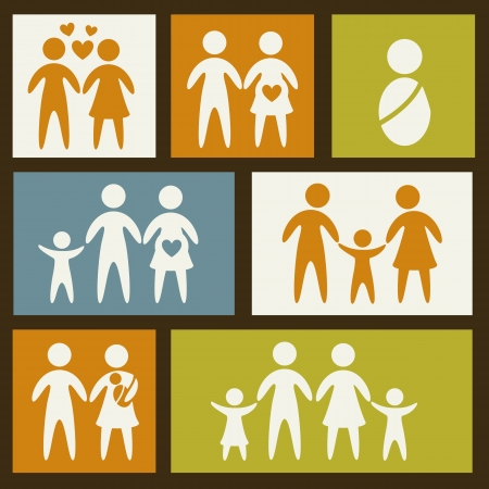 family icons over squares background. vector illustration Vector