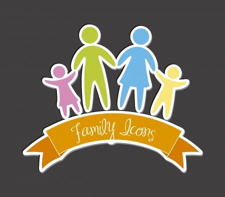 icônes de la famille sur fond gris. illustration vectorielle
