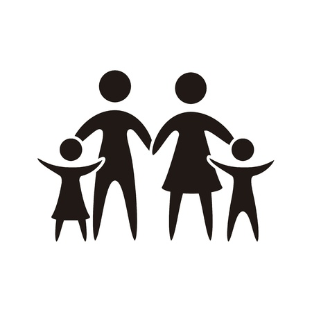 black family: family icon over white background. vector illustration