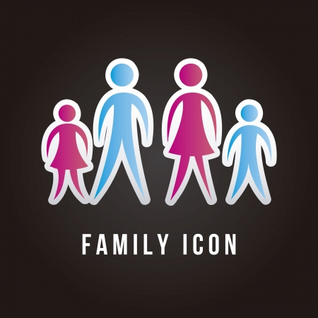 black family: family icon over black background. vector illustration