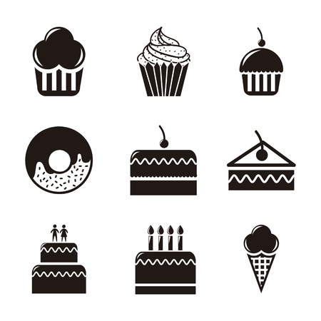 trozo de pastel: tortas de los iconos sobre el fondo blanco. ilustración vectorial