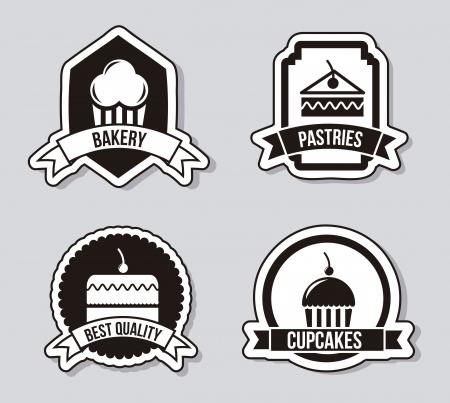 porcion de torta: tortas de iconos sobre fondo gris. ilustraci�n vectorial