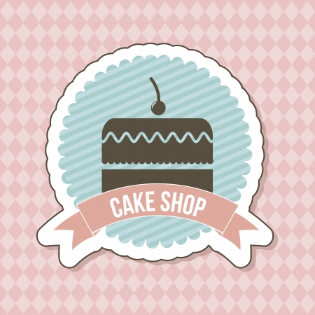 pastries: big cake icon over label background. vector illustration Illustration