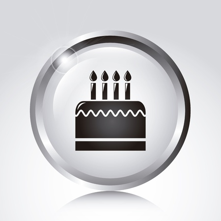 big cake over white button background. vector illustration Vector