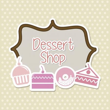cakes pictogrammen over beige achtergrond. vectorillustratie