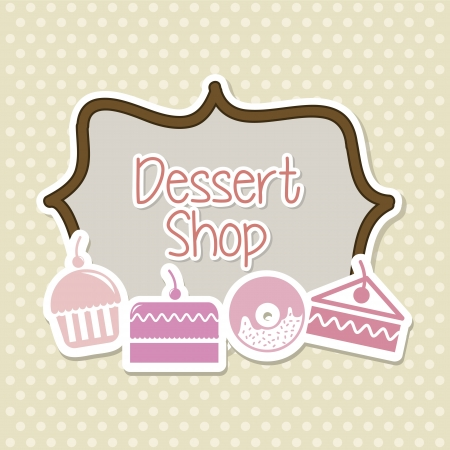 trozo de pastel: tortas de iconos sobre fondo beige. ilustraci�n vectorial