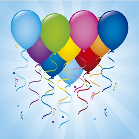 balloons birthday over blue background. vector illustration Stock Vector - 18920920
