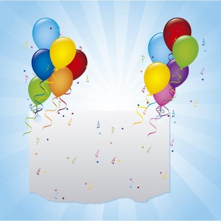 balloons birthday over blue background. vector illustration
