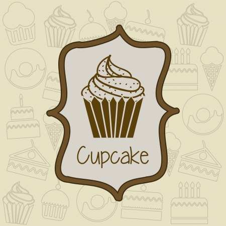 cup cake icon over label background. vector illustration Vector