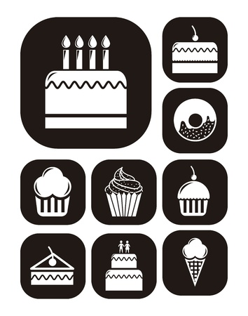 birthday cupcakes: cakes icons over white background. vector illustration