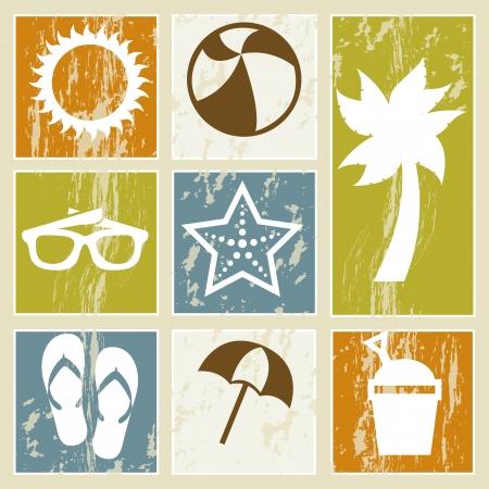 sonnenschirm: Sommer Symbole �ber Vintage Hintergrund. Vektor-Illustration Illustration