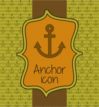 anchored: anchor icon over green background. vector illustration