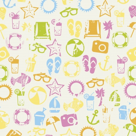 summer icons over beige background. vector illustration Stock Vector - 18921213