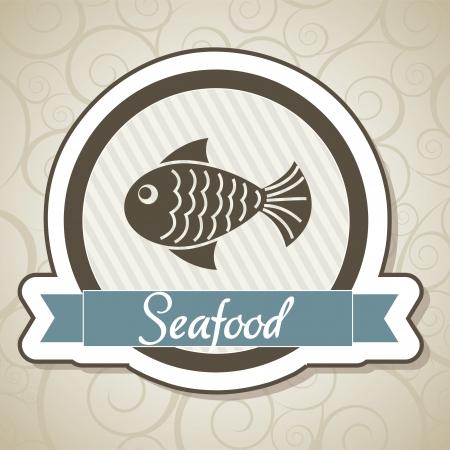 vis: schaal-en schelpdieren van label over ornament achtergrond. vectorillustratie Stock Illustratie