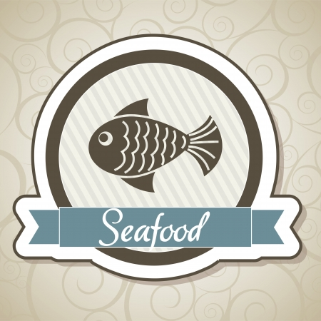 fry: seafood of label over ornament background. vector illustration