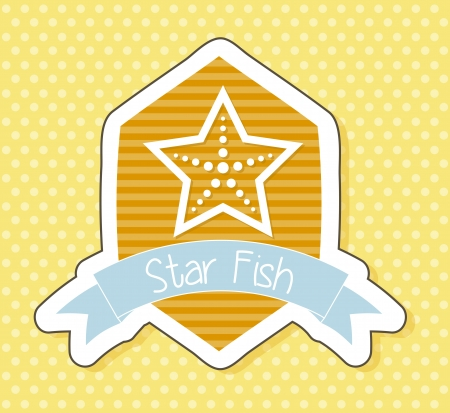 starfish over cute label, over yellow background. vector illustration Stock Vector - 18920912